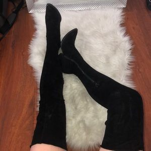 Jeffrey Campbell over the knee suede black boots